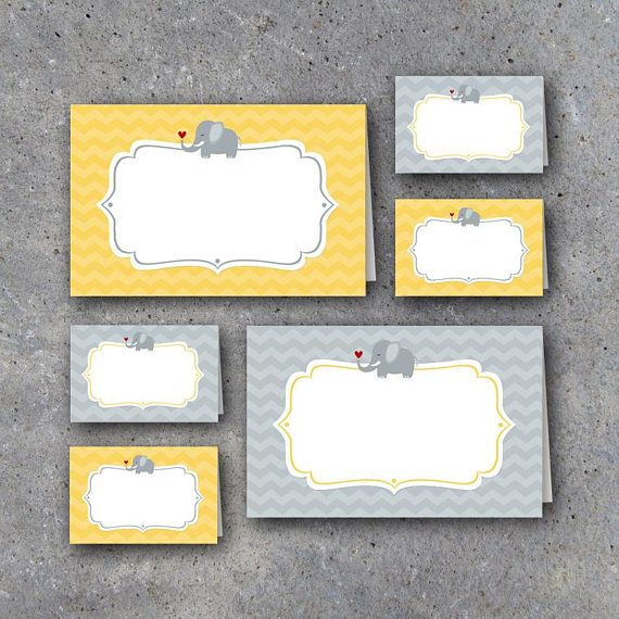 Baby Shower Tent Cards! Printable cute elephant yellow and gray tent cards in two sizes perfect for gender neutral baby showers. Label food and drinks, use as name place cards, create welcome signs and more! Instant Download by Studio 120 Underground, $5.
