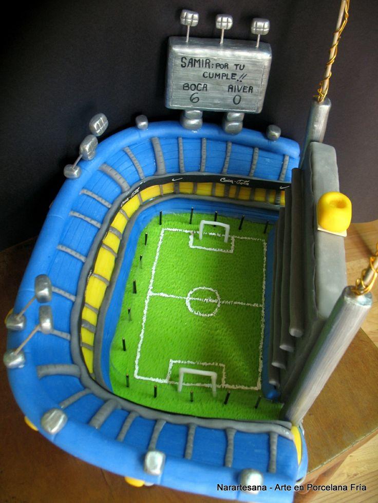 La Bombonera - Boca Juniors. Adorno para torta realizado en Porcelana Fría / Cake topper made of Cold Porcelain