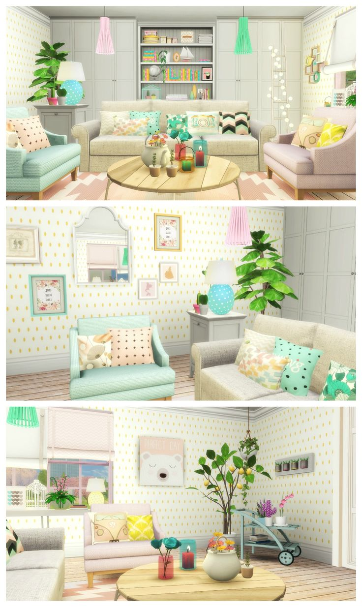 SIMS 4 PASTEL LIVING ROOM Build + CC List
