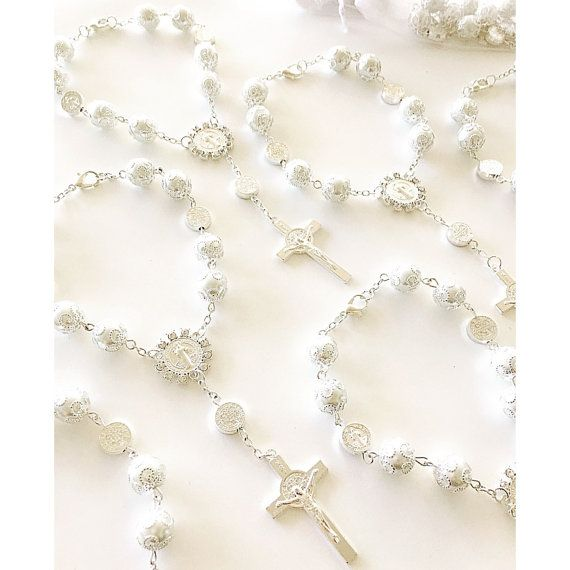 DOZEN Pearl Saint BenedictRosary Bracelets. by Beautifyyou on Etsy