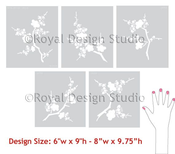 17 best images about stencils on pinterest cherry for Cherry blossom wall mural stencil