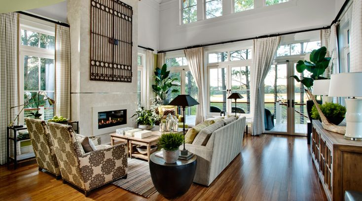 HGTV Dream Home 2013 Living Room  Hearts of Palm and Extra White paint colors by Sherwin Williams