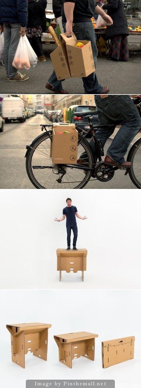 """Cartón, Cartón !! El Packtasche (""""Raquetas"""") para ir de compras y portando. Y de replegado de Nueva Zelanda escritorio portátil .... - un agrupada imágenes foto - Pin Them All"""