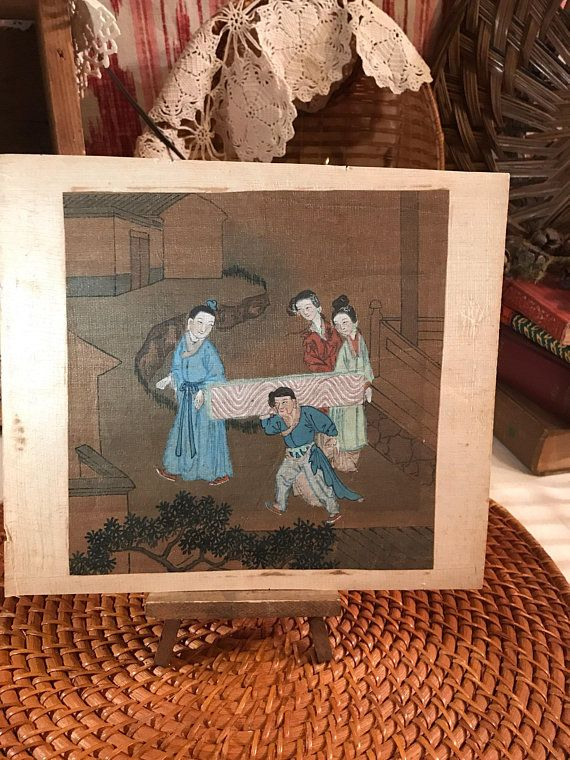 214953d90c4d7 Antique ART ARTWORK 18th 19th Century Chinese Painting Depicting Court  Ladies and Laborers Qing Dynasty Early Asian Art Home Decor