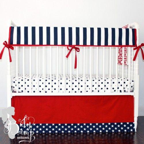 Navy Blue and Red Stars and Stripes Designer Created Crib Set - Boy Baby Bedding - Designer Created Crib Sets