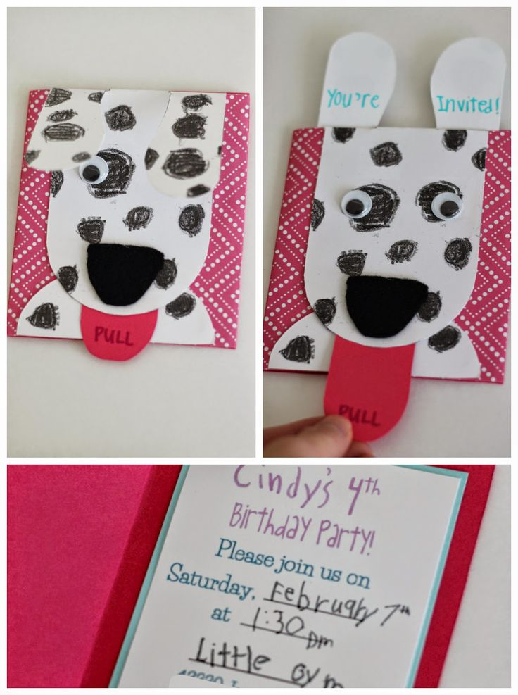 DIY Flip ears puppy invitations. Link to printable in the blog post. Had my daughter color the spots and write the info inside on one invite, scanned it in and printed it to personalize it. Something special and for me to keep. #puppy party. #invitation