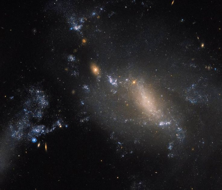 scattered galaxies with a blue haze