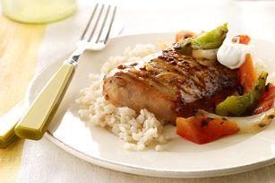 Grilled Orange Chipotle Pork & Brown Rice Recipe - Kraft Recipes