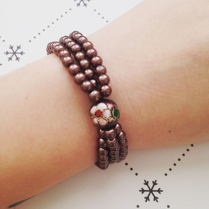 Brown pearlbead beaded bracelet
