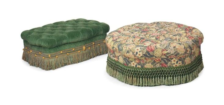 TWO UPHOLSTERED BUTTON-TUFTED OTTOMANS,  LATE 20TH CENTURY