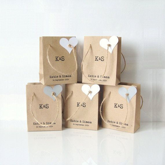 Wedding Favour Bags With Heart Tag Set Of 5 By Shinta On Etsy 00