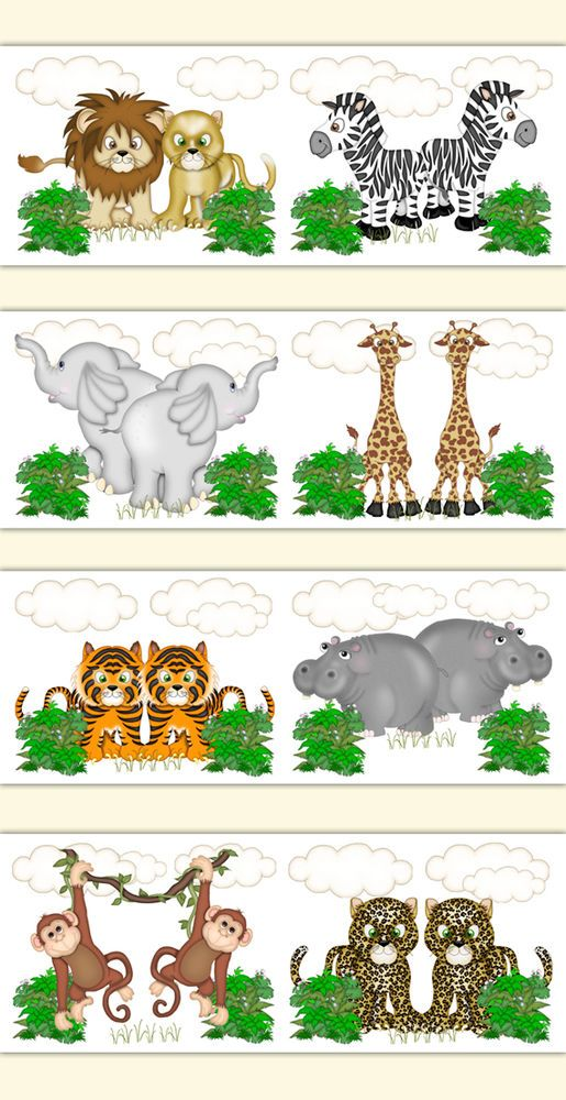 Details About Safari Animal Nursery Baby Girl Wallpaper