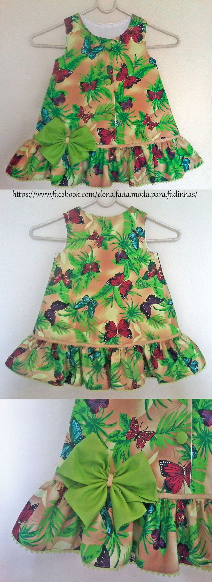 Vestido Trapézio Floresta Tropical - 2 anos - - Rain Forest  Dress - 2 years - - - - baby - infant - toddler - kids - clothes for girls - - - https://www.facebook.com/dona.fada.moda.para.fadinhas/