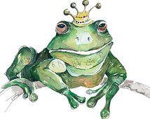 Grenouille, aquarelle originale, peinture, Animal Art, Art de la grenouille, décor de pépinière, grenouille verte, artistique pour les enfants