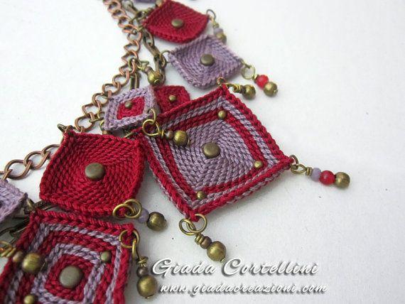 Gypsy fibres crochet necklaceboho necklacefiber par GiadaCortellini