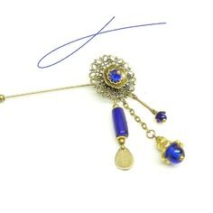 Broche baroque ¤ bleu cobalt ¤
