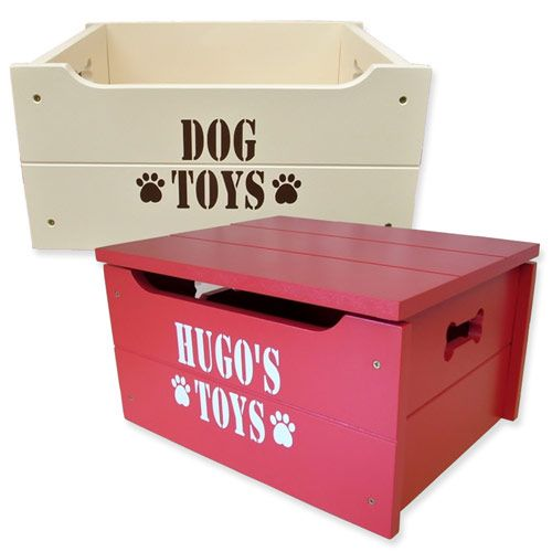 This personalised dog toy box is a wonderful way to keep all your dog's toys tidy whilst also looking great in your home. Handcrafted in the UK http://www.dfordog.co.uk/dog-toy-box.html