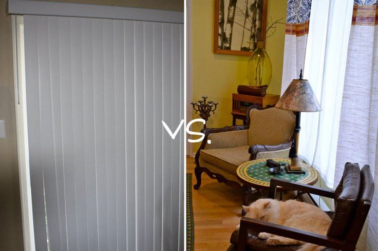 Go buy some curtains that you love and slip the top of the curtain right into the clip where the vertical blind would clip in.  It's very easy to do and looks so much better than those boring white blinds.