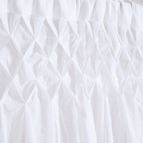 White Smocked Top Cotton Curtain | World Market