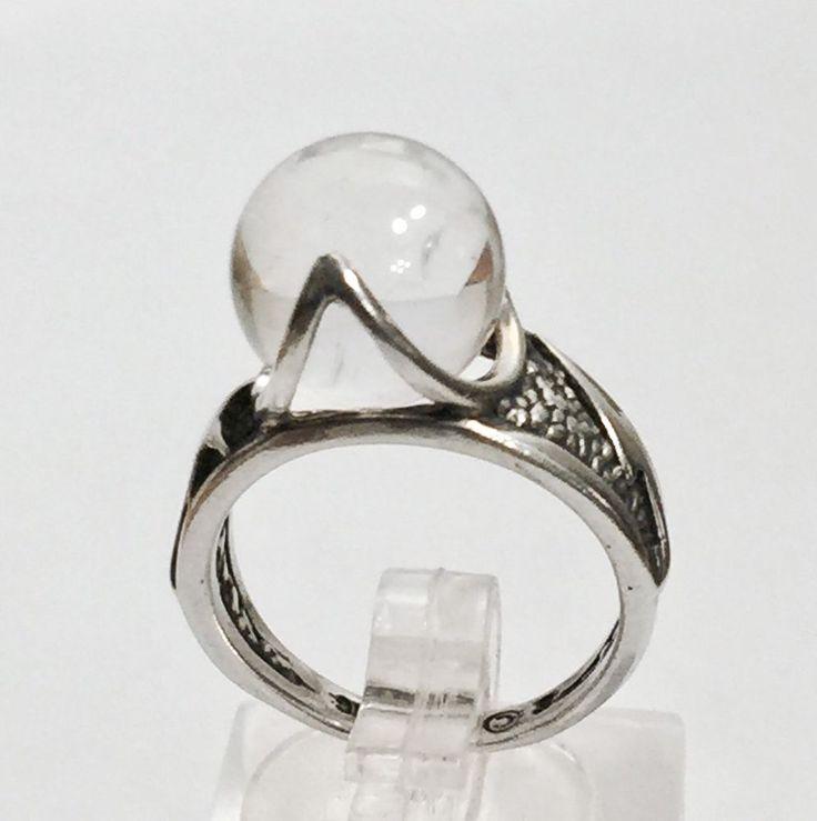 Sterling Silver Ring Crystal Ball Bead Shooting Star Lightning Bolt Band Sz 6.5  | eBay