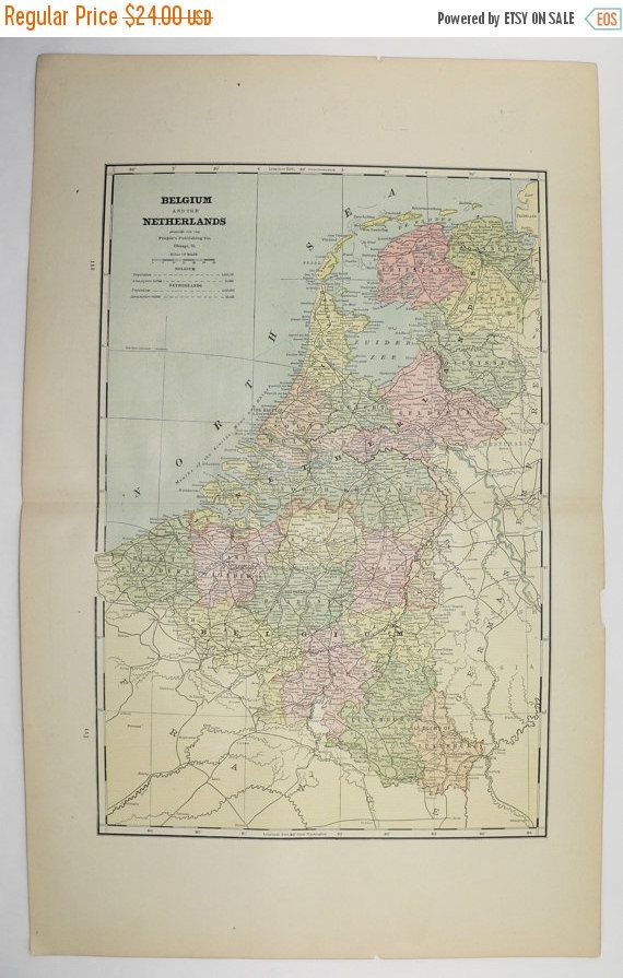 Antique Belgium Map, Netherlands Sweden Map Norway, 1887 Vintage Map, Northern Europe Map, Vacation Gift for Couple, Genealogy Research available from OldMapsandPrints.Etsy.com #Belgium #Norway #Sweden #Netherlands