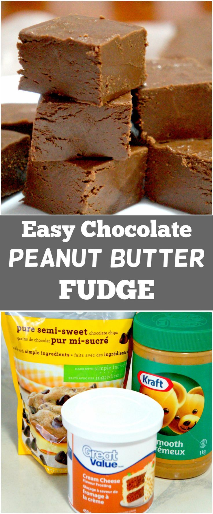 3 Ingredient Chocolate Peanut Butter Fudge. Easy dessert recipe. Frosting Fudge. Microwave fudge.