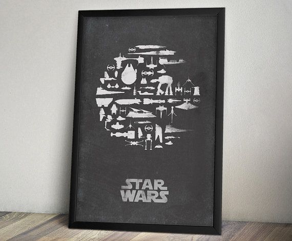 Star Wars Inspired Vintage Poster Thats No Moon by ThePixelEmpire, $18