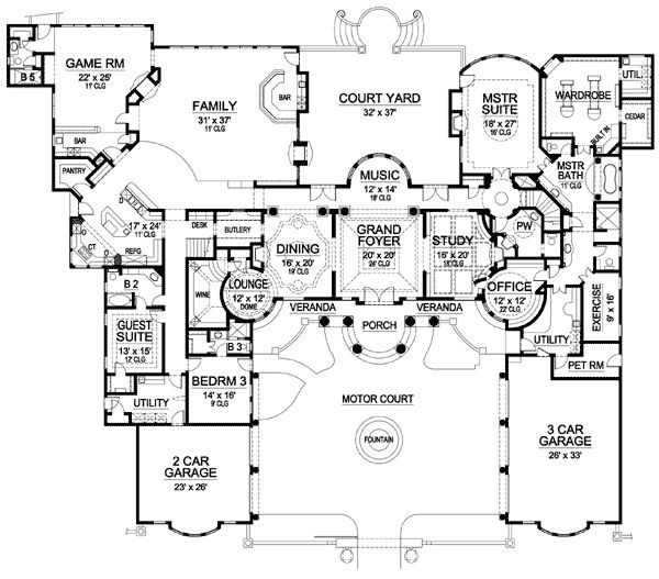 Plan 36183tx Palatial Estate Of Your Own Mansion House