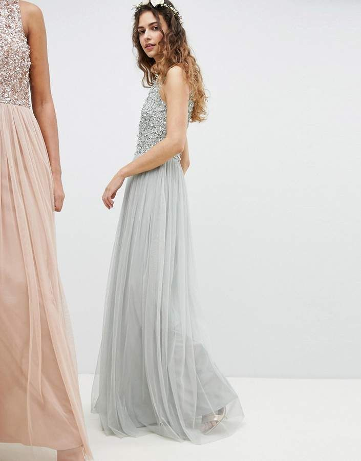4fe61606c00637 Maya Sleeveless Sequin Bodice Tulle Detail Maxi Bridesmaid Dress With Cutout  Back #Bodice#Tulle#Sequin