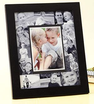 "Instead of framing each photo individually, cover an 8x10"" photo mat with a collage of black-and-white photos, put colored photo in middle. LOVE THIS."