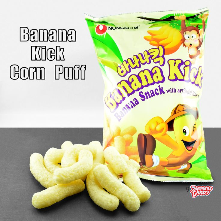 { Banana Kick Corn Puff // Nongshim } - Corn puffs coated in sweet banana frosting. The light, crunchy corn puffs melt in your mouth and finishes off with an explosion of banana flavor. It's an addictive snack for anyone who loves bananas! #247japanesecandy #korea #snack