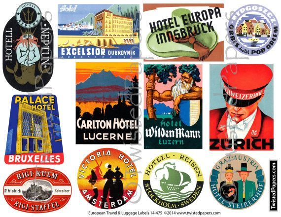 European LUGGAGE LABEL ART, Vintage Travel Luggage Labels ...