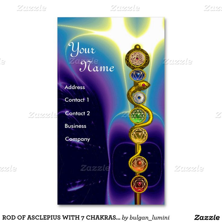 Rod Of Asclepius With 7 Chakras Spiritual Energy Business Card Cards Holders And Nameplates For Your Pinterest