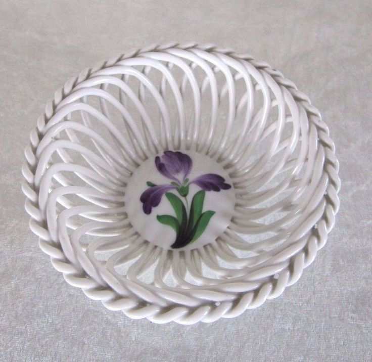 Herend Hungary Porcelain Purple Flower Bouquet Open Weave Basket Bowl 7372
