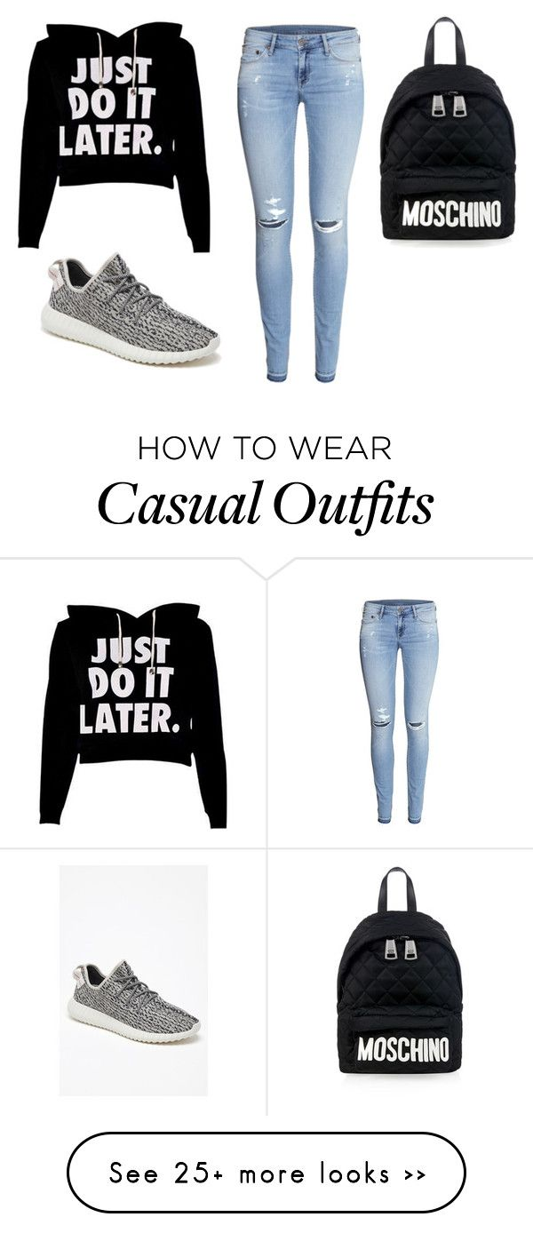 """CASUAL AF."" by letitzombie on Polyvore featuring H&M, Moschino and adidas Originals"