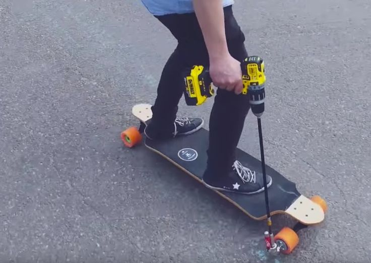Make Your Own Drill Powered Skateboard
