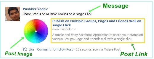 Post on Multiple Groups, Pages and Friends Wall on single Click in Facebook