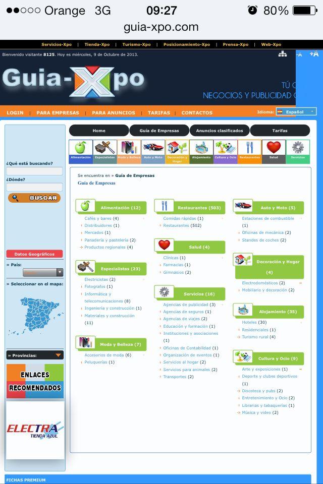Espacio de #publicidad y #negocios online entre empresas, autonomos y particulares con el objetivo de descubrir  potenciales mercados y nuevos clientes. Un concepto diferente para promocionar actividades, marcas o anuncios en las primeras posiciones de los principales buscadores como Google, Yahoo o Msn, reforzando su presencia en internet. - See more at: http://www.guia-xpo.com/es/index.php?load=home#sthash.6zEyKvxO.dpuf