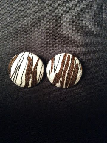 White & Brown Abstract Button Earrings (1-1/8)