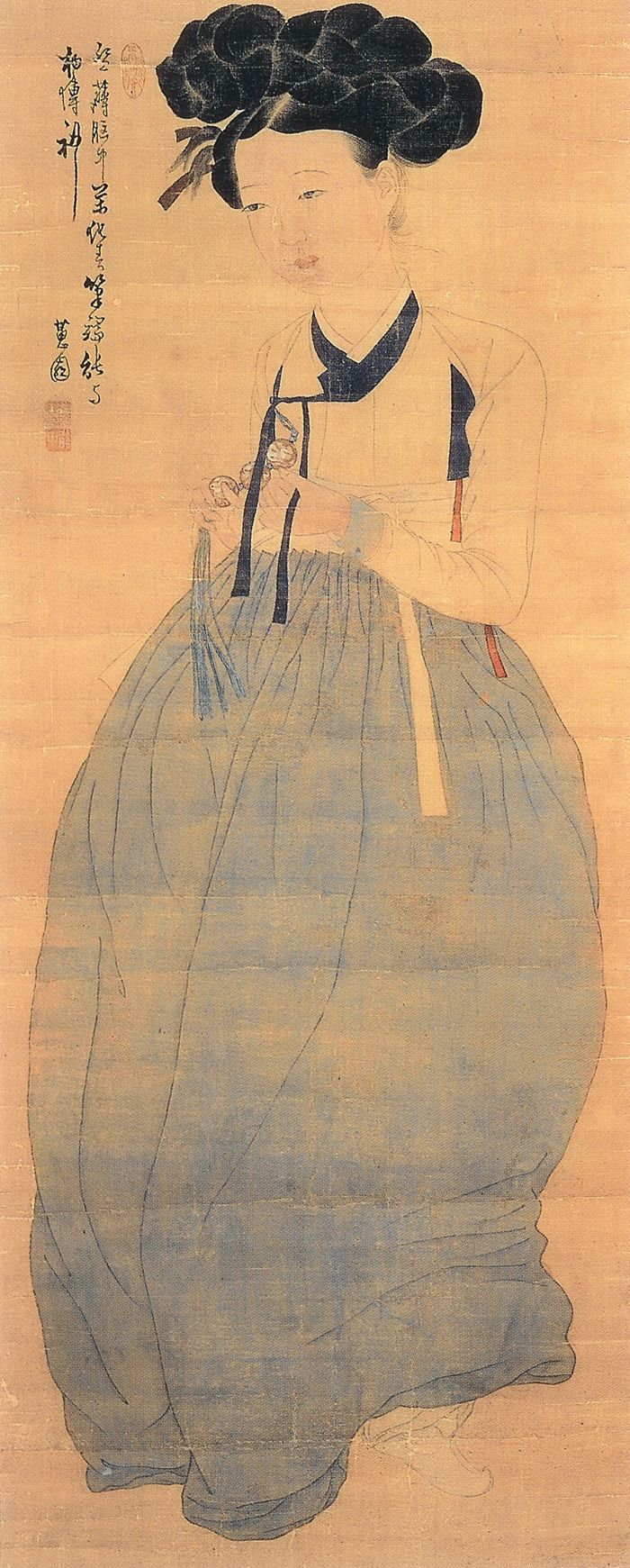 Miindo | Portrait Of A Beauty By Corean Artist Shin Yunbok Painting on silk. Depicts the standard of traditional beauty in the Joseon Dynasty (1392-1910), Corea. Realistic details of the Hanbok are notable.