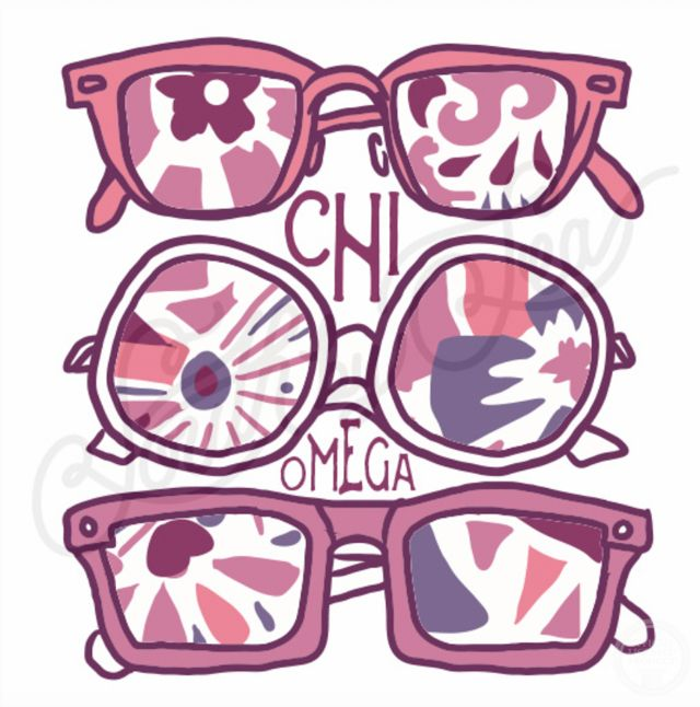 Chi Omega | Chi O | Sunglasses Design | Summer Design | South by Sea | Greek Tee…