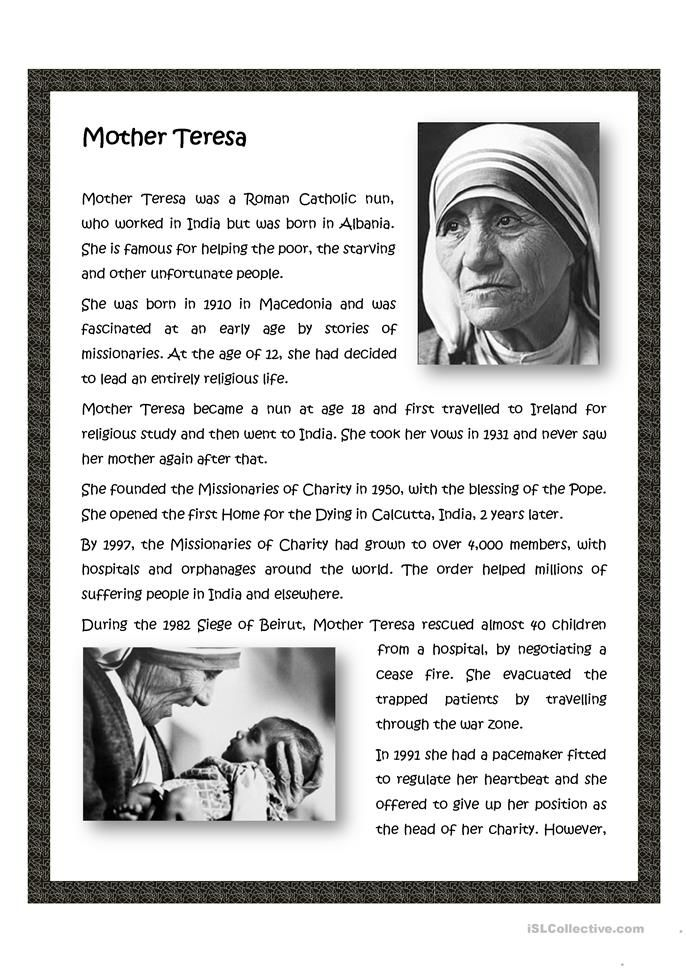 Mother Teresa English Esl Worksheet For Distance Learning And Physical Classroom In 2021 Activitie Storie Kids Biography Essay Biographical Short