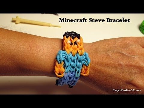 ▶ How to make Minecraft Steve Bracelet on Rainbow Loom - YouTube