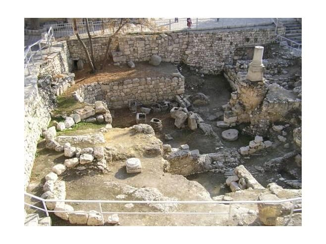 """Ruins of the Bethesda Pool, Jerusalem - John 5:2 """"Now there is in Jerusalem near the Sheep Gate a pool, which in Aramaic is called Bethesda."""" The Bethesda Pool is one of the locations at which Jesus performs a miracle. John 5:2-9 tells of the paralytic man whom Jesus healed at the Pool - """"Then Jesus said to him, """"Get up! Pick up your mat and walk.""""  At once the man was cured; he picked up his mat and walked."""" Jesus' maternal grandparents, Anne and Joachim, also lived in Bethesda."""