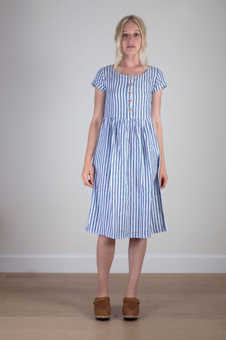 Blue striped linen midi day dress by PyneandSmith on Etsy https://www.etsy.com/listing/244341552/blue-striped-linen-midi-day-dress