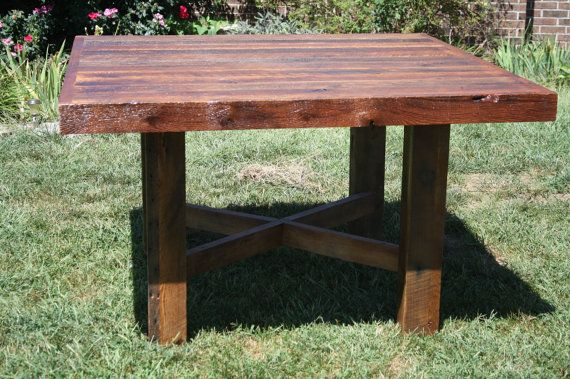 YOUR Custom Made Rustic Reclaimed Barn Wood Square Farmhouse Dining Table or Conference Table
