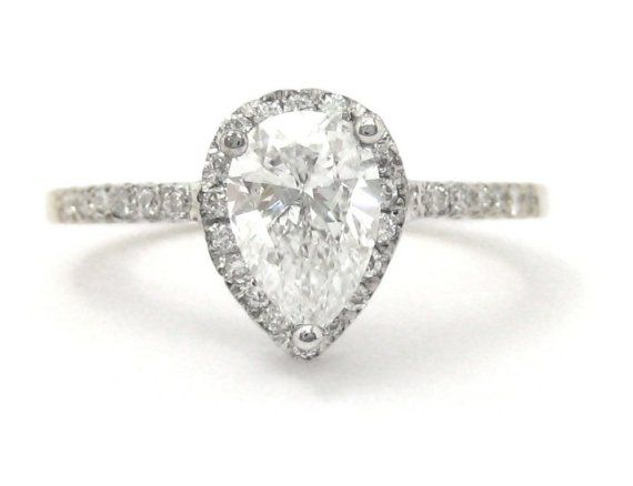 Pear and round diamond engagement ring art deco 1.35ctw $3999