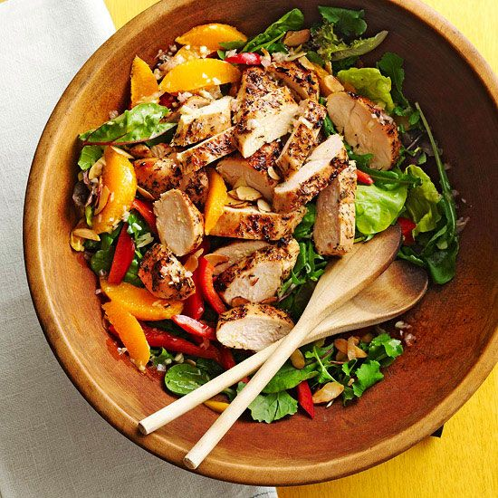 Enjoy the irresistible taste in every bite of this Grilled Honey-Orange Chicken Salad. More healthy summer recipes: http://www.bhg.com/recipes/healthy/dinner/healthy-summer-recipes/?socsrc=bhgpin071413honeyorangechickensalad=19