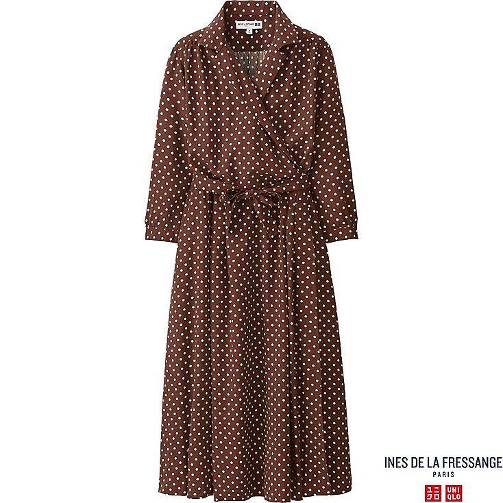 WOMEN IDLF RAYON PRINTED WRAP FRONT DRESS, BROWN, large