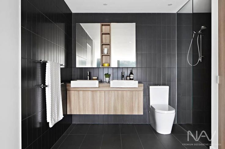 Navurban™ Toorak | Located in the inner-Melbourne suburb of Preston, this bathroom design by Arkee Creative offers a combination of matte black tiles and the warm Toorak veneer. Navurban is available in a range of sizes.